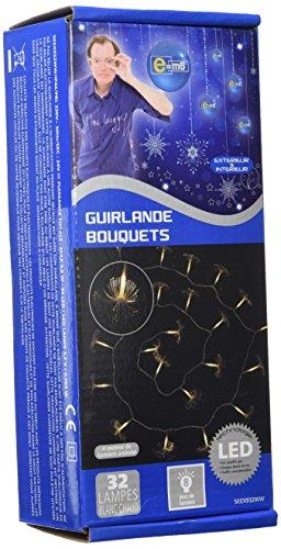 E=M6 5EEX932WW Guirlande Bouquet Fibre Optique 32 LED 8 Fonctions, Plastique, Blanc