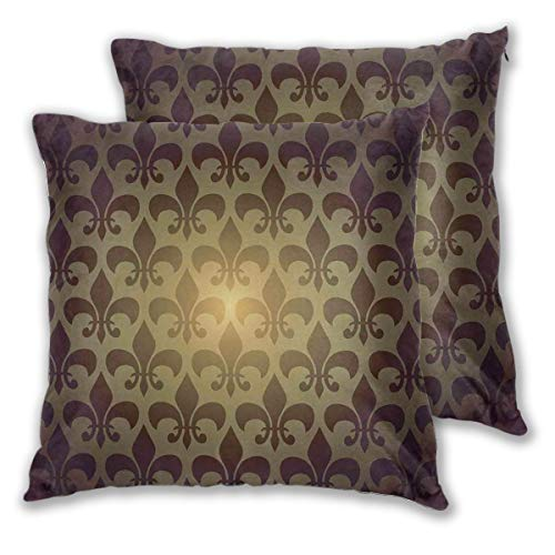 LISNIANY Cushion Cover,Royal Lily Flower Inspired Floral Baroque Style Dark Pattern,Pillow Case Cover Square Cushion Cover for Sofa Car Home Bed Decor 45 x 45cm