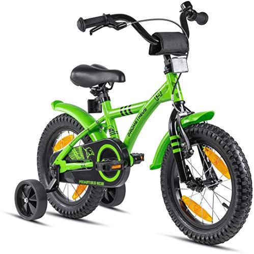 Prometheus bicicletta bambini 3-5 anni da 14 Pollici per Bambino e Bambina con rotelle e contropedale BMX Modello 2021 in Verde e Nero