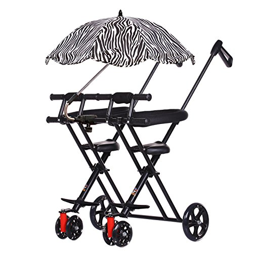 DZX Kinder Twin Tricycle - Portable Outdoor Reise Faltwagen,C