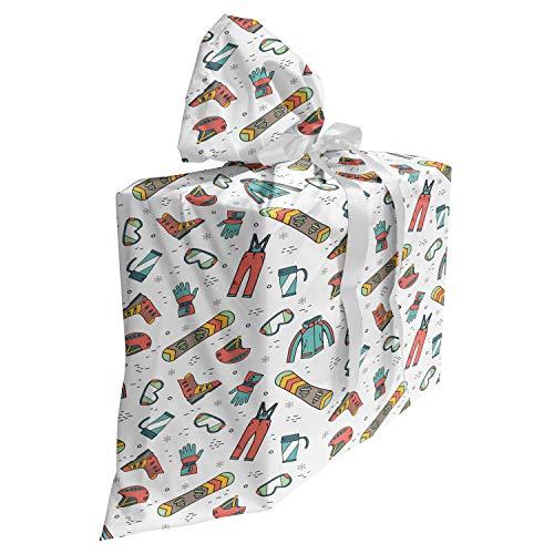 ABAKUHAUS Wintersport Cadeautas voor Baby Shower Feestje, snowboarden Skiën, Herbruikbare Stoffen Tas met 3 Linten, 70 cm x 80 cm, Veelkleurig