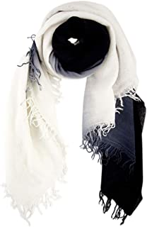 Chan Luu Dip Dyed Cashmere and Silk Scarf (White/Black)