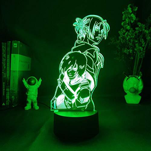 MDJK - Luz nocturna de anime, figura japonesa de manga, ataque a titanio Annie Leonhart x Mikasa Ackerman, lámpara de escritorio LED, acrílico, 7 colores