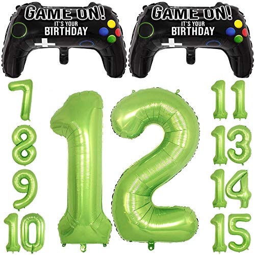 Video Game Party Balloons for Boys 12th Birthday Decorations 2 Packs Game Controller Mylar Balloons with Green Number Balloons 12