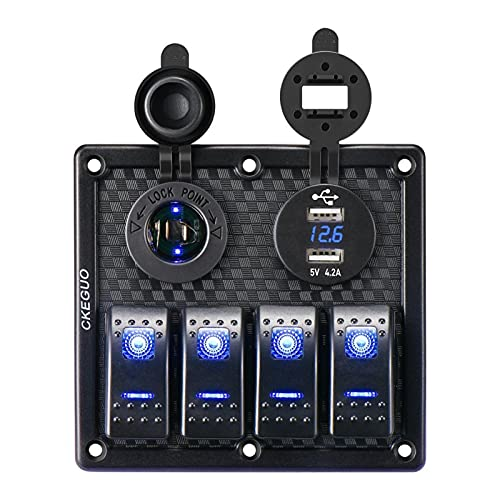 Development 4 Gang 12V Dual USB Port Coche Barco Marino LED Rocker Interruptor Panel Impermeable Voltímetro Digital LED Rocker Switch Panel (Color : Black)