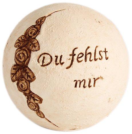 Brauns-Heitmann 6512 keramische bol met Du fehlst uns Duitse tekst (betekent: 'We Miss You) 14,5 cm Champagne-gekleurd/bruin