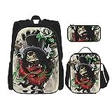 Guns'N-Roses-Skull Art - Mochila de viaje para acampada juvenil, mochila escolar de 3 piezas, bolsa escolar+bolsa de almuerzo combinación