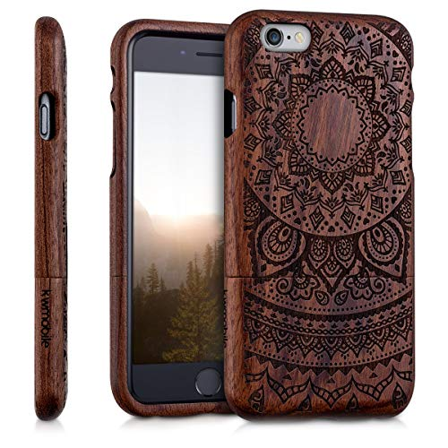 kwmobile Hülle kompatibel mit Apple iPhone 6 / 6S - Handy Schutzhülle aus Holz - Cover Case Handyhülle Indische Sonne Dunkelbraun