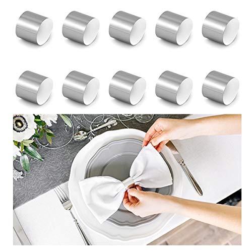 Jakopabra 10 Stück Serviettenringe aus metallischem Papier (Silber)