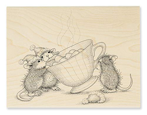 Stampendous House Mouse Sharing A Sip Rubber Stamp