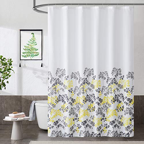 Metro Parlor Grey Yellow Fabric Shower Curtain 70x72 Inch, Floral Decor Printed on White Waffle Water Resistant Liner, Bathroom Hotel Spa Washable Bath Curtain