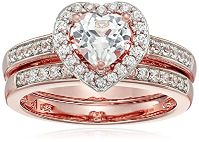 Sterling Silver and 14k Rose Gold Plated Lab Created White Sapphire Bridal Set Ring