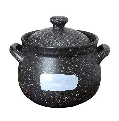 SMSOM Casseruola in Ceramica Rotonda Nero Casseruola/in Terracotta/a Terracotta/in Ceramica Pentole/pentole in Ceramica con Coperchio Resistente al Calore per Cucina in Assi casseruola