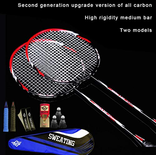 LIJ 2 Stück Shot Full Carbon Fiber Badminton Schläger Ultra Light Offensive Training Beat Feather Shot rot