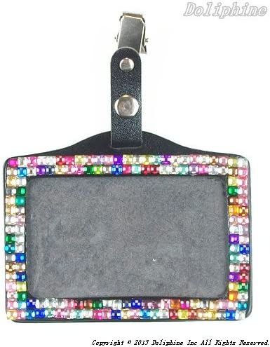 Colorful Bling Crystal Rhinestone Horizontal Badge Holder Max Inexpensive 44% OFF wit ID