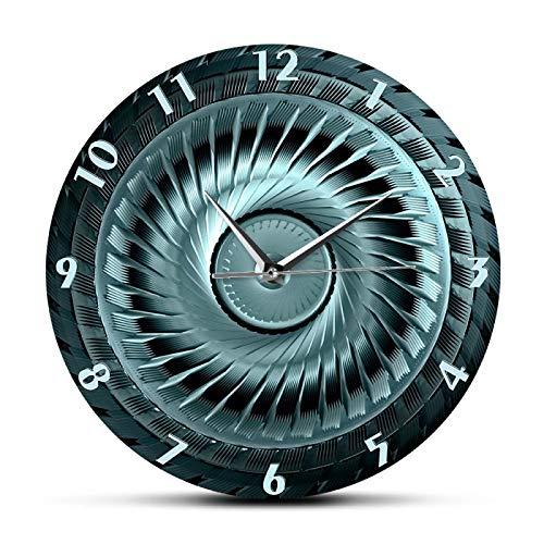 gongyu Reloj Decorativo de Rueda de Acero Industrial con Cuchillas para mecánico automotriz, Hombre, entusiastas del Coche, Reloj de Pared para Dormitorio de niño