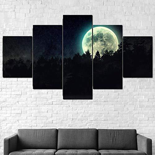 TOPRUN Bilder Wandbild 200x100cm Leinwandbild 5 TLG Kunstdruck Vollmond Dunkle Nacht Moderne Wandkunst Plakatrahmen Wohnzimmer Dekoration Wandbild