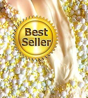 6oz Banana Crunch Cake SCENTED Handmade Slime - Crunchy, Stretchy & Satisfying ASMR - Yellow w/Foam Balls - Homemade in USA