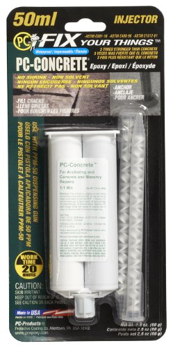 PC Products PC-Concrete Epoxy Adhesive Paste for Anchoring and Crack Repair, Two-Part 50 ml Cartridge, Gray 70505