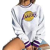 Felpa Pullover da Donna NBA Los Angeles Lakers, Pullover Leggero in Jersey di Moda Maglione da Basket Manica Lunga Magliette Sportive Larghe,Bianca,S