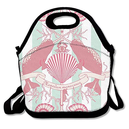 Girls Boys Food Lunch Tote Seahorse Pink Narwhal Unisex Cute Convenient And Easy To Carry Bento For Bento Handy Picnic School Work Portable Reusable Handbag Bags Boxes Lunchbox Outdoor Totes