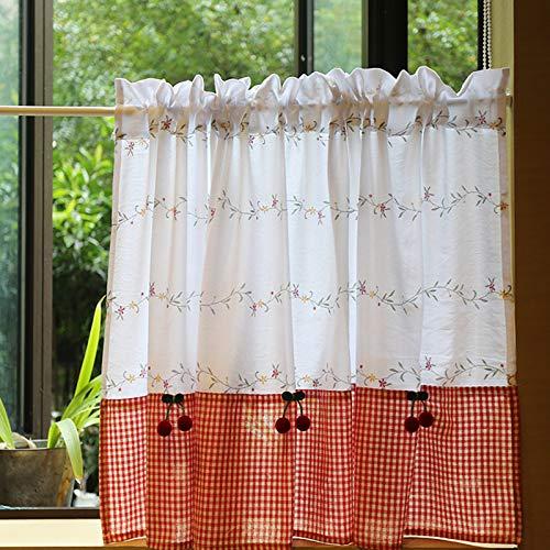 无 Tier Curtains, Country Style Kitchen Net Curtain, Cafe Curtain, Cotton Cherry Short Half Window Curtain Valance, Dining Room Curtain, Sunshine Valances (135x65cm, Red)
