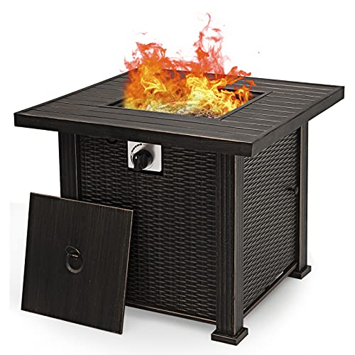 """Giantex 30"""" Gas Fire Table 50,000 BTU Square Propane Fire Pit Table with Lid and Lava Rocks CSA and ETL Certification (Brown)"""