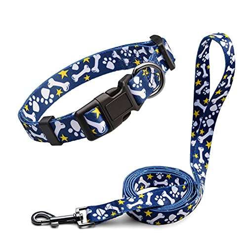 Anbeer Collares Ajustable y Correa 150cm para Perros Grandes, Medianos y Pequeños Entrenamiento Caminar Al Aire Libre (Huesos de Perro-L)
