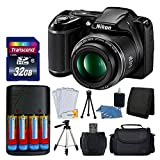 Nikon COOLPIX L340 20MP Digital Camera (Black) + AA Batteries & Charger + Transcend 32GB SDHC Memory Card + 50' Quality Tripod - Full Value Bundle - International Version (No Warranty)