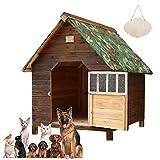 Casa de Perro Grande Exterior, Caseta para Perros Exterior Mediana/Pequeños, Caseta para Perros Exterior con Puerta, Casa Perro Madera, Casitas para Gatos Exterior Impermeable(Size:56*45*48cm)