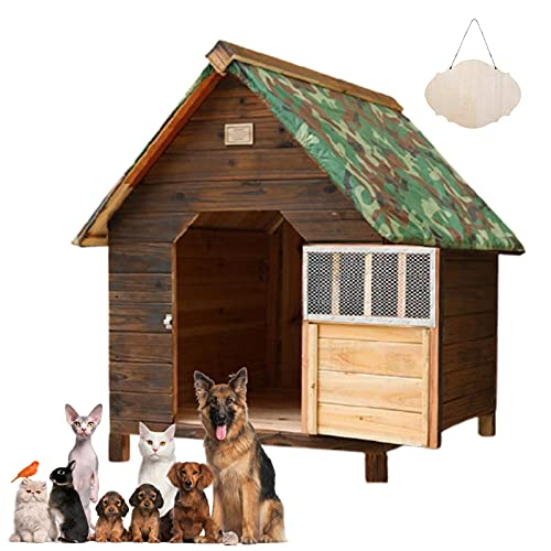 Casa de Perro Grande Exterior, Caseta para Perros Exterior Mediana/Pequeños, Caseta para Perros Exterior con Puerta, Casa Perro Madera, Casitas...