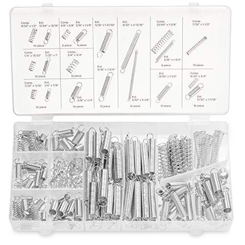 Neiko 50464A Spring Assortment Set, 200 Pieces | Zinc Plated Compression and Extension Springs for Repairs