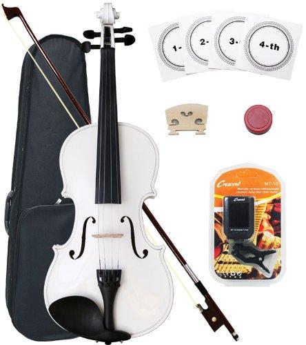Crescent 3/4 Size Student Violin Starter Kit, White Color (Includes CrescentTM Digital E-Tuner)