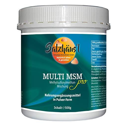 MSM Methylsulphonylmethan PRO 100% reines Granulat Pulver SALZHÄUS`L 500 g/organischer Schwefel in Premiumqualität/mit Vitamin C (Acerola)