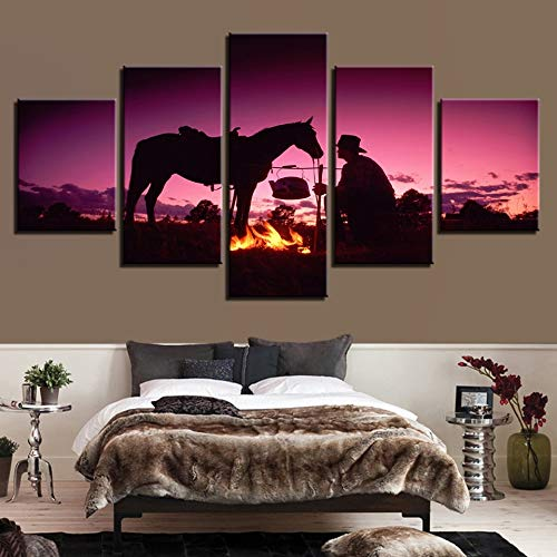 GUDOJK canvas schilderij woonkamer muurkunst 5 stuks zonsondergang avondschemering ridder whit paard foto's HD prints vlam poster wooncultuur 20x35cm 20x45cm 20x55cm
