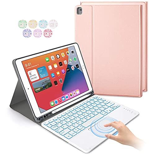 Jsvacva Tastatur Hülle mit Touchpad für iPad 2019/2020 10.2 Zoll(8./7. Gen), iPad Air 3, iPad Pro 10.5, Bluetooth beleuchtete Tastatur mit Schutzhülle, TrackPad und Stifthalter - Roségold