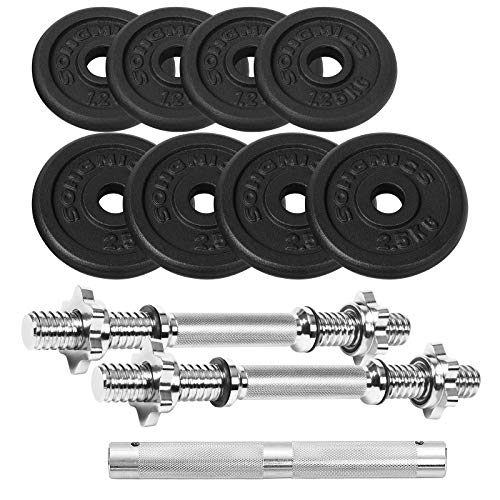 SONGMICS Cast Iron Adjustable Dumbbells Set, with Extra Barbell Bar, 20 kg, for Men Women Workout, Fitness Training, Weight Lifting, at Home Gym, Black SYL20LBKV1