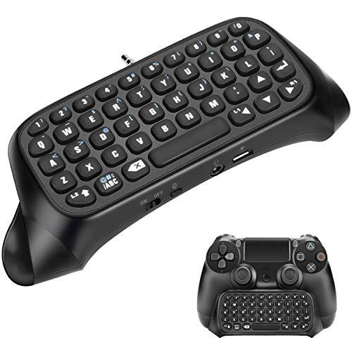 nobrand PS4-Tastatur Powcan Mini Wireless Chatpad Message Game Controller-Tastatur mit Headset-Audio-Buchse für Sony Playstation 4, PS4 Slim, PS4 Pro-Controller-Tastatur Schwarz