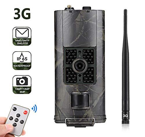 SUNTEKCAM 3G Cámara de Caza 16MP 1080P HD Cámara de Vigilància Nocturna Trail Cámara 120 ° Gran Angular con Transmisión de telefonía móvil gsm,Diseño Impermeable IP65,Tarjeta 16G Gratis