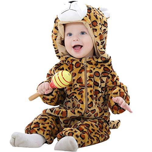 ANUFER Unisexo Bebé Encapuchada Mameluco Franela Linda Animal Mono Pijama 0-36 Meses Leopardo SN07652 0-6 Meses