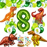 Decoracion Cumpleaños Dinosaurios, Globos de Cumpleaños Dinosaurios, Globo Numero 8 Verde, Globos Dinosaurios, Globos de Cumpleaños 8 Años, Globos Grandes Gigantes Helio