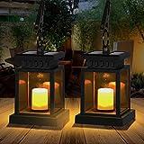 Farol solar para exterior, farol solar exterior con vela decorativa LED, resistente al agua, farolillos colgantes de jardín, decoración de jardín, luces festivas para exteriores (2 piezas)