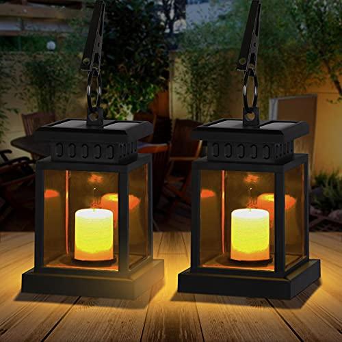 Farol solar para exterior, farol solar exterior con vela decorativa LED, resistente al...