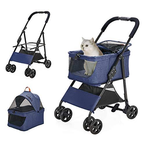 ペットカート 犬用ベビーカー 取り外し可能 中型犬用 猫犬兼用 前輪360°回転 後輪ブレーキ付 組み立て簡単