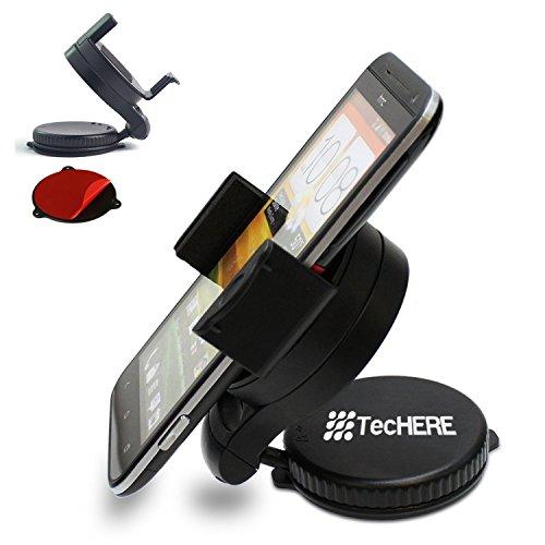 TecHERE SmartClaw Porta smartphone / cellulare universale con ventosa e supporto adesivo per cruscotto - Supporto auto per iPhone 6/6 plus, iPhone 5s 5c 5 4s, Samsung Galaxy S2 S3 S4 S5, Nexus 5, HTC, navigatore GPS ed altri dispositivi di larghezza da 5 a 8 cm - Snodo con regolazione a 360° - Garanzia 100% soddisfatti o rimborsati