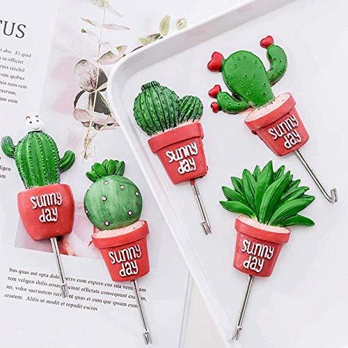 Pkfinrd 5ps cactus lijm kunstmatige bloem pot plant thuis decoratie opslag box sleutelhouder badkamer keuken handdoek rek haak en slide rail