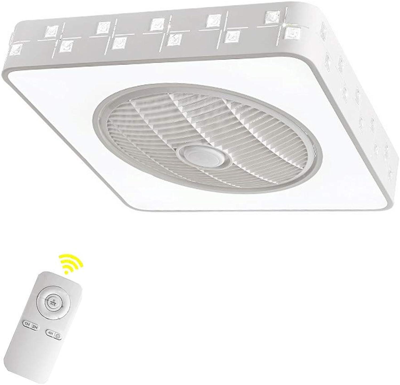 HYKISS Deckenventilator Licht einfache Kinderzimmer Wohnzimmer Deckenleuchte mit Ventilator Quadrat Fernbedienung DREI Farben, 55  55cm