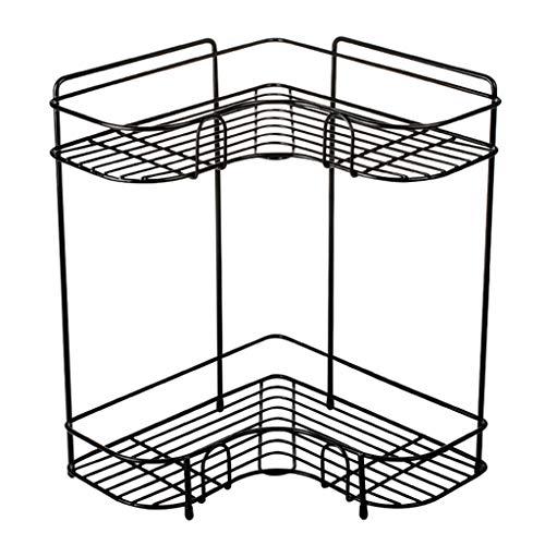 Étagère à épices, cuisine rack de stockage créatif double triangle rack cuisine plat panier salle de bain lavage rack étage fleur stand (Color : Black, Size : 26 * 26 * 35.5cm)