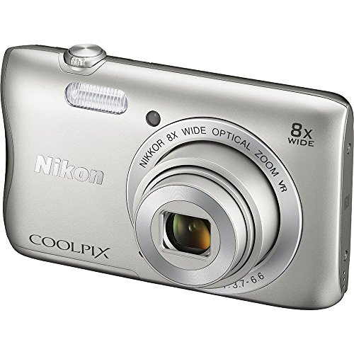 Nikon COOLPIX S3700 20.1 MP Wi-Fi Digital Camera with 8X Optical Zoom and 720P Video (Silver)