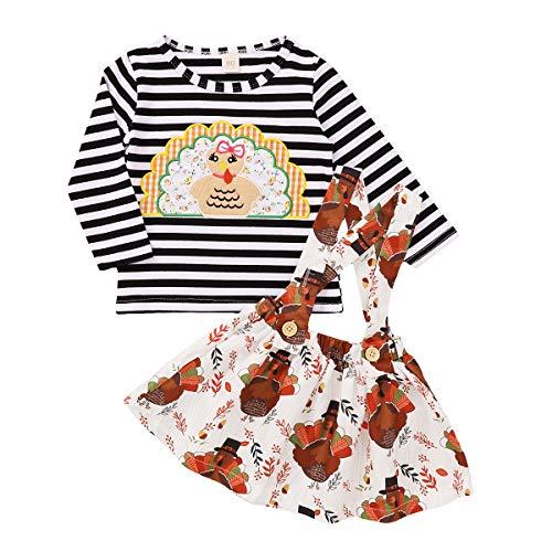 Juego de 2 piezas para niños, camiseta de manga larga con cuello redondo a rayas y falda con estampado floral, color blanco